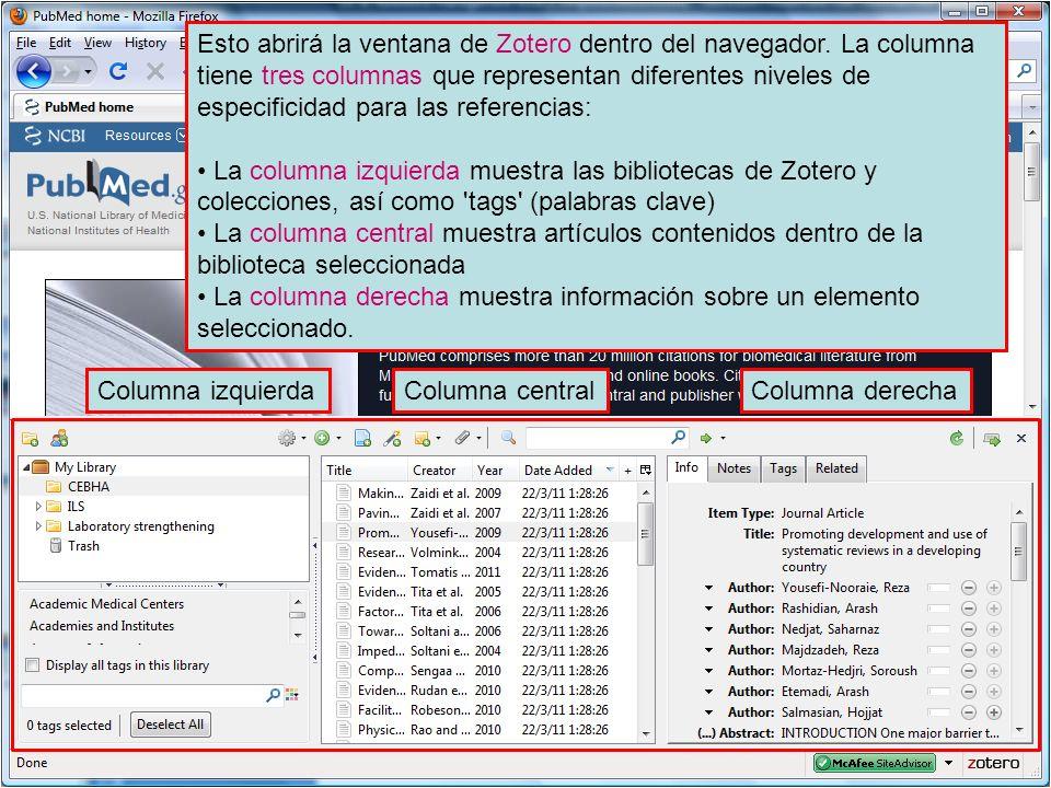 Esto abrirá la ventana de Zotero dentro del navegador