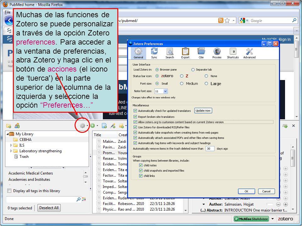 Muchas de las funciones de Zotero se puede personalizar a través de la opción Zotero preferences.