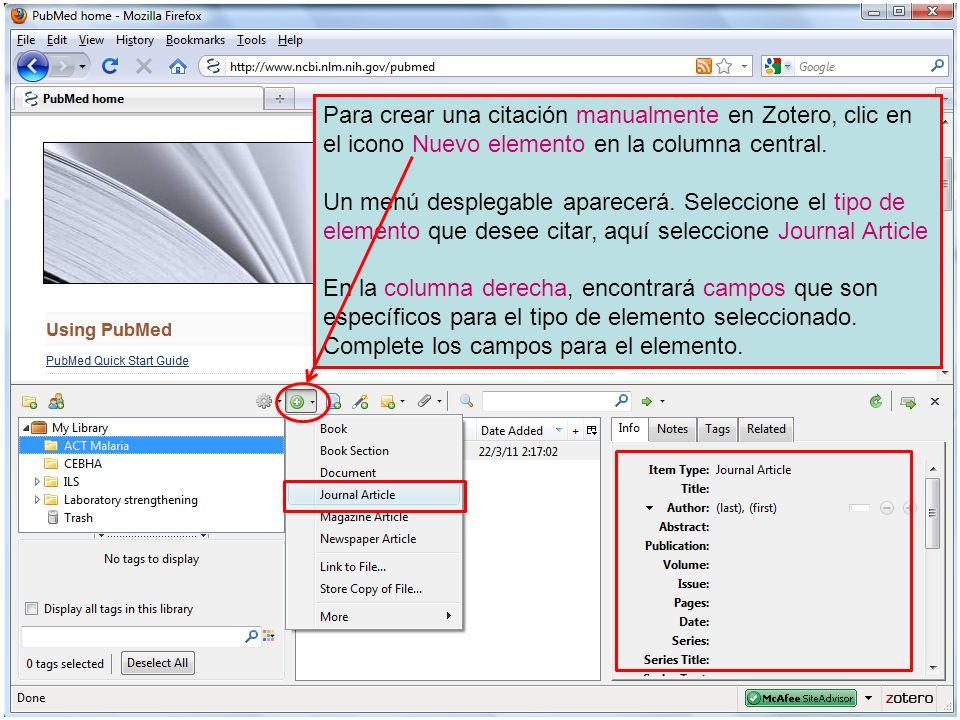 Para crear una citación manualmente en Zotero, clic en el icono Nuevo elemento en la columna central.