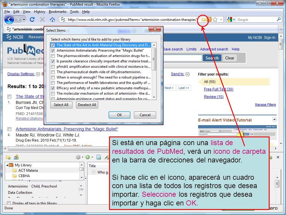 Si está en una página con una lista de resultados de PubMed, verá un icono de carpeta en la barra de direcciones del navegador.