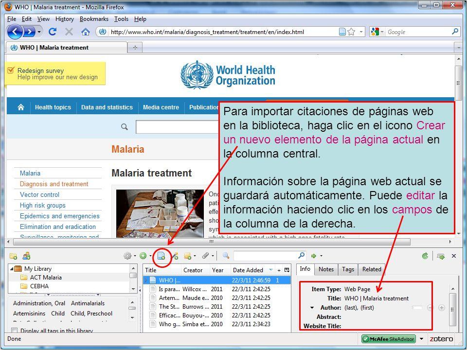 Para importar citaciones de páginas web en la biblioteca, haga clic en el icono Crear un nuevo elemento de la página actual en la columna central.