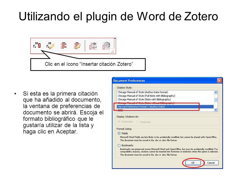 Utilizando el plugin de Word de Zotero