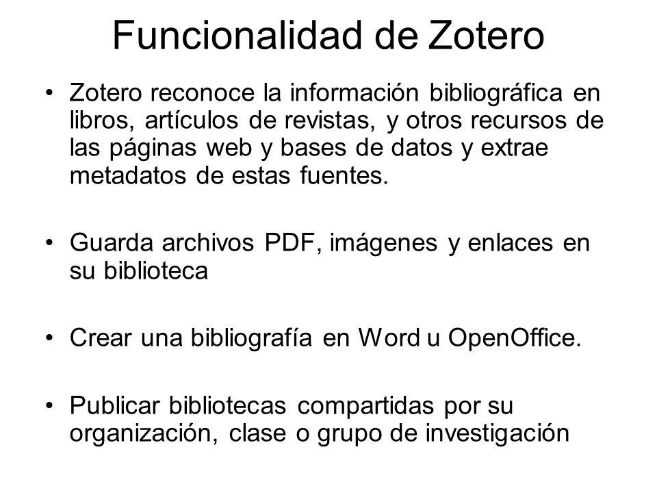 Funcionalidad de Zotero