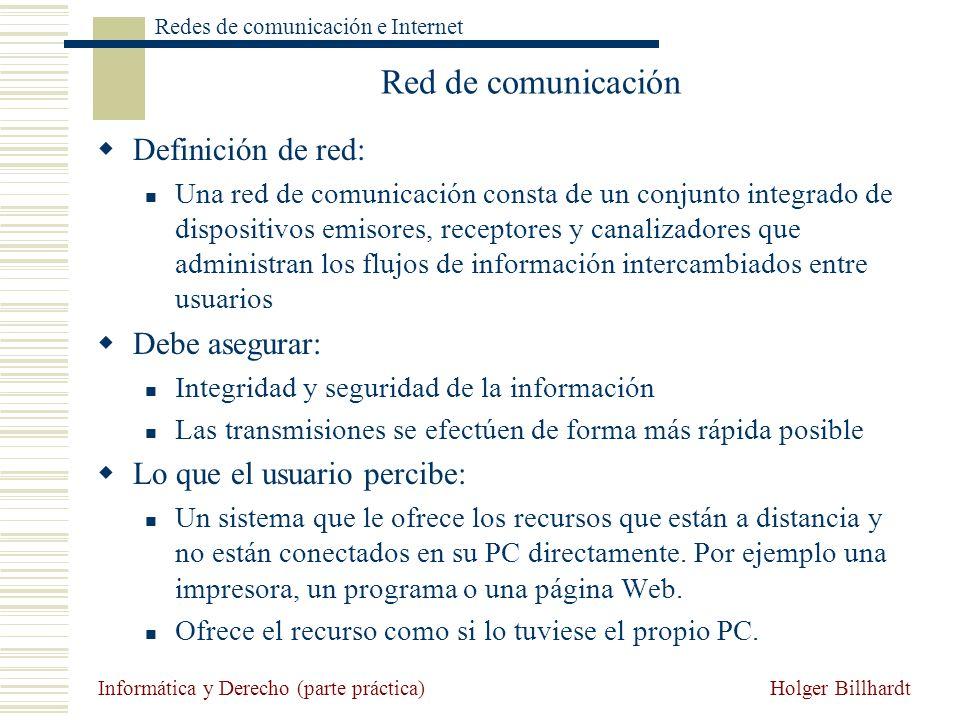Red de comunicación Definición de red: Debe asegurar: