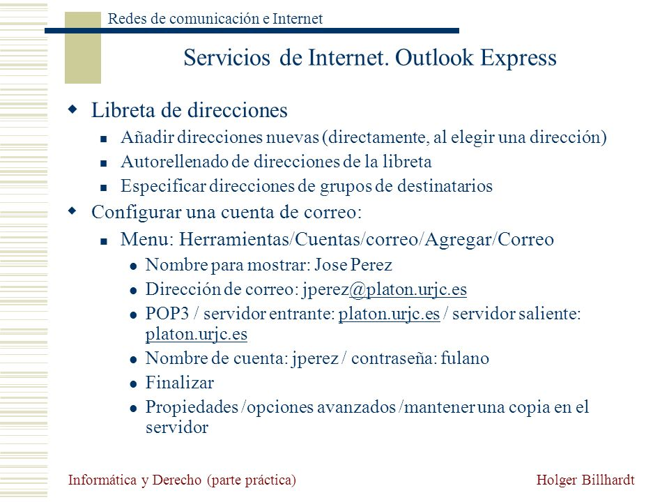 Servicios de Internet. Outlook Express