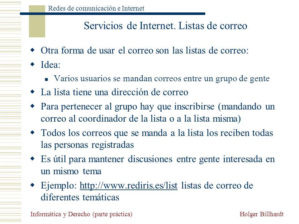 Servicios de Internet. Listas de correo