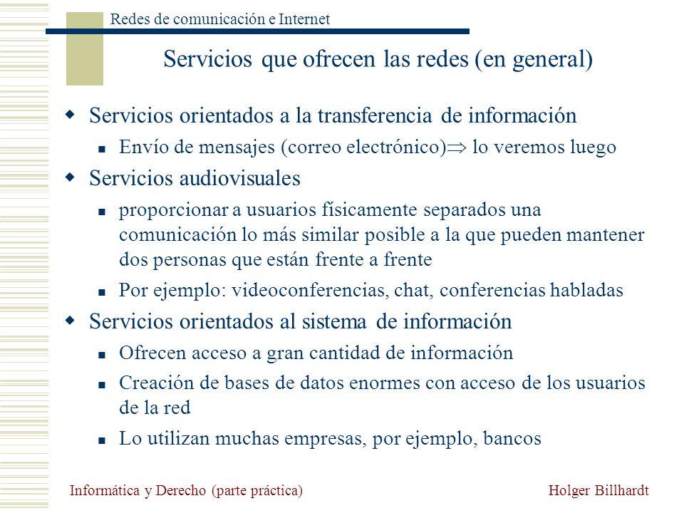 Servicios que ofrecen las redes (en general)