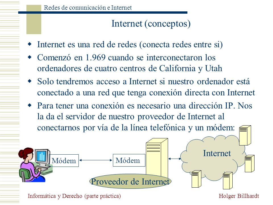 Internet (conceptos) Internet es una red de redes (conecta redes entre si)