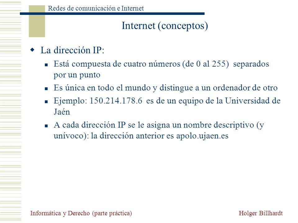 Internet (conceptos) La dirección IP: