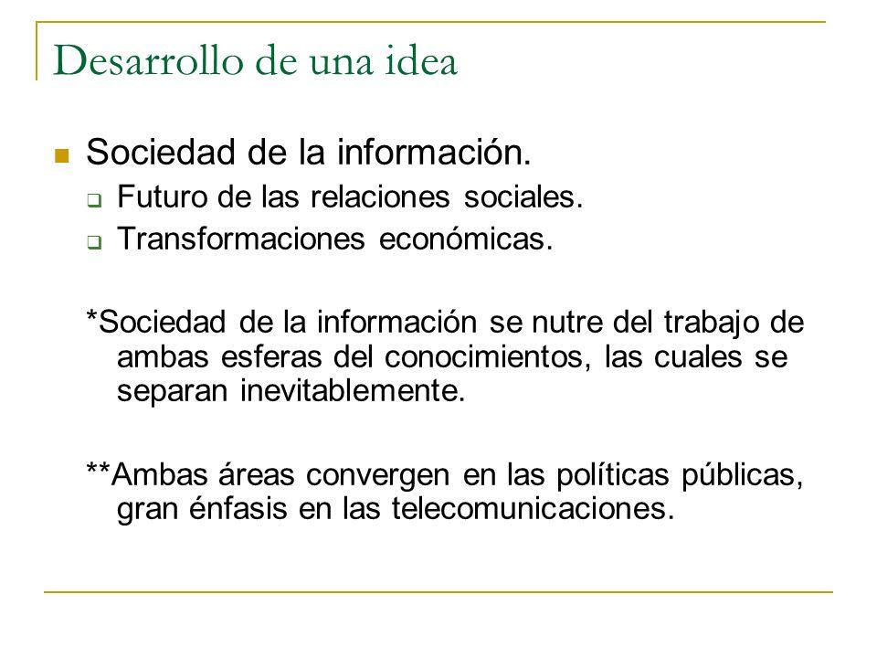 Desarrollo de una idea Sociedad de la información.