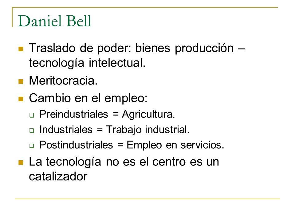 Daniel Bell Traslado de poder: bienes producción – tecnología intelectual. Meritocracia. Cambio en el empleo: