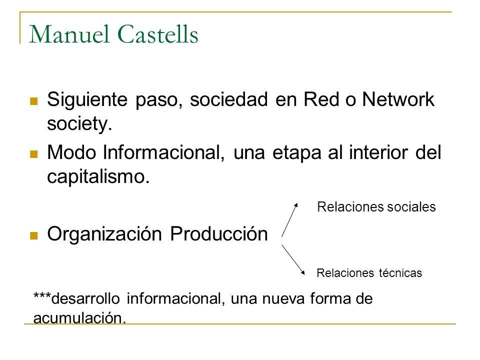 Manuel Castells Siguiente paso, sociedad en Red o Network society.