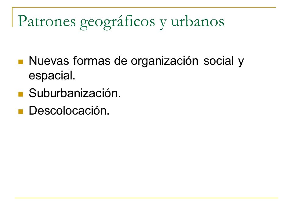 Patrones geográficos y urbanos