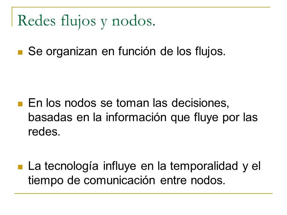 Redes flujos y nodos. Se organizan en función de los flujos.