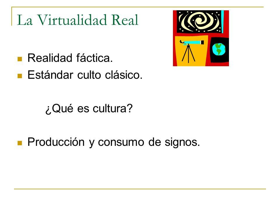 La Virtualidad Real Realidad fáctica. Estándar culto clásico.