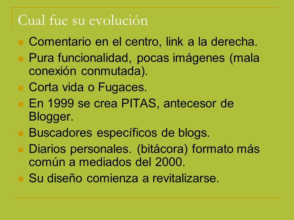 Cual fue su evolución Comentario en el centro, link a la derecha.