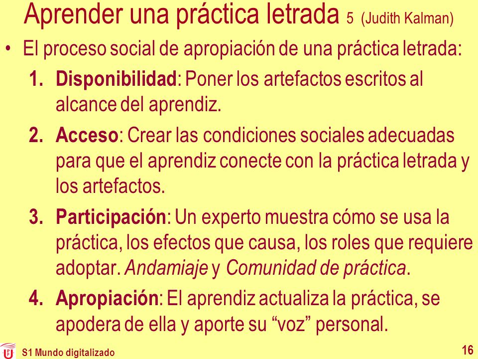 Aprender una práctica letrada 5 (Judith Kalman)