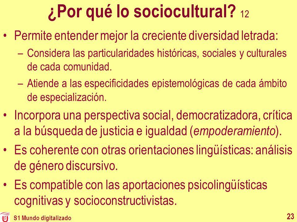 ¿Por qué lo sociocultural 12