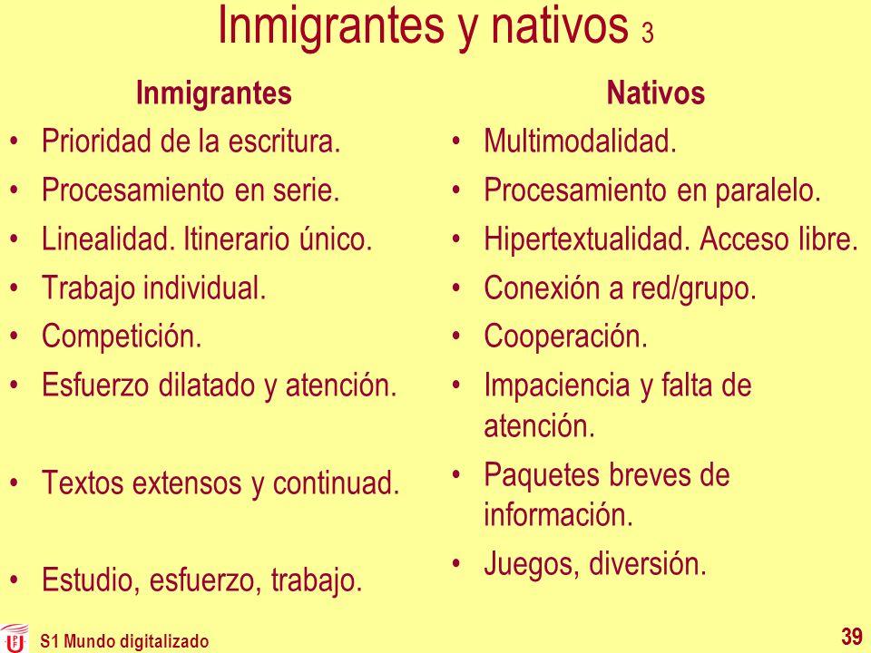 Inmigrantes y nativos 3 Inmigrantes Prioridad de la escritura.