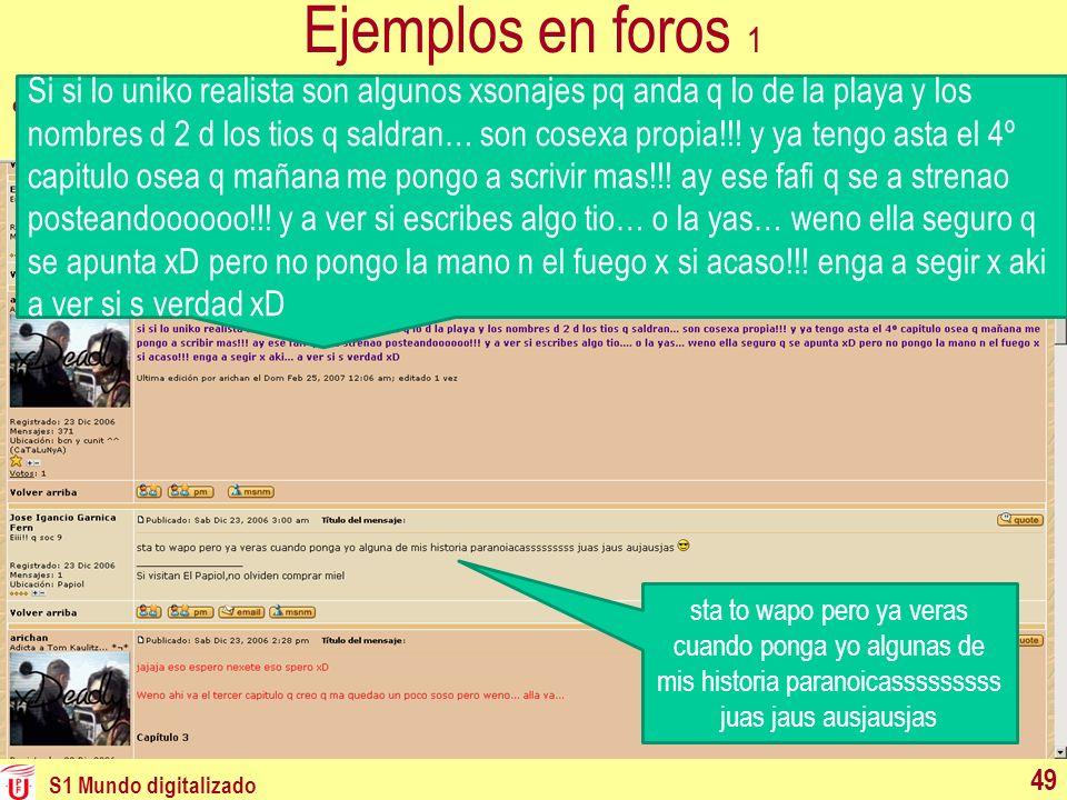 Ejemplos en foros 1 Foro en Internet neolitera de jóvenes catalanes: