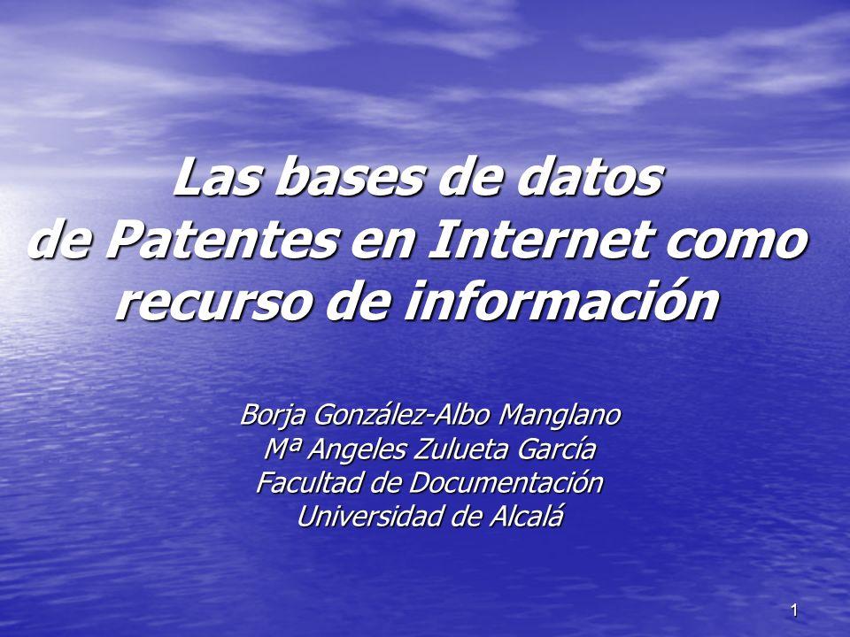 Las bases de datos de Patentes en Internet como recurso de información