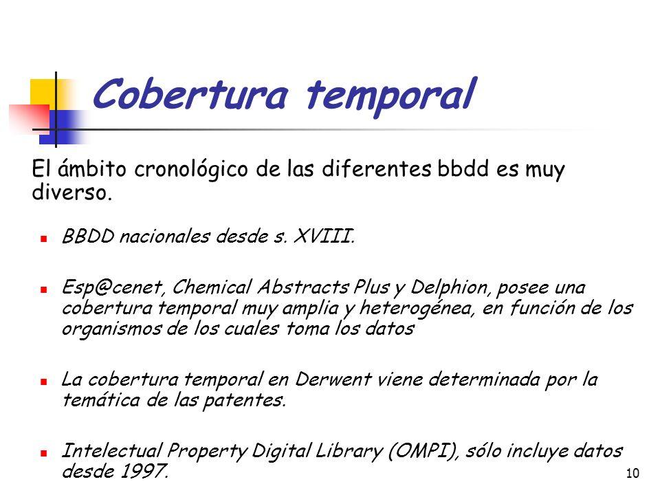 Cobertura temporal El ámbito cronológico de las diferentes bbdd es muy diverso. BBDD nacionales desde s. XVIII.