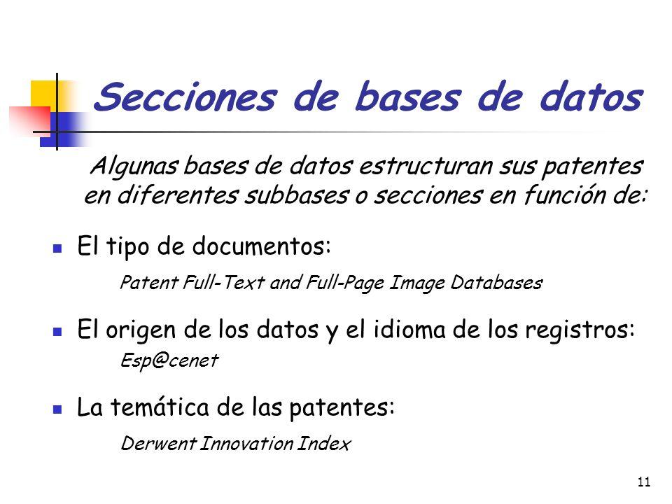 Secciones de bases de datos