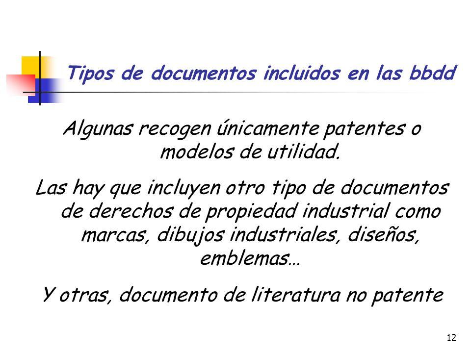 Tipos de documentos incluidos en las bbdd