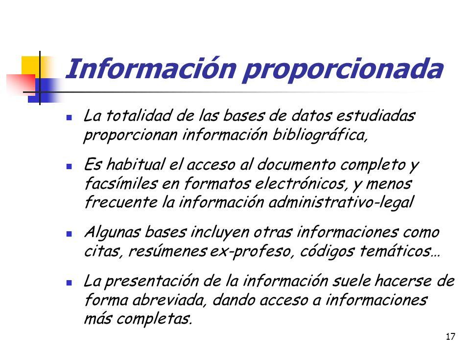 Información proporcionada