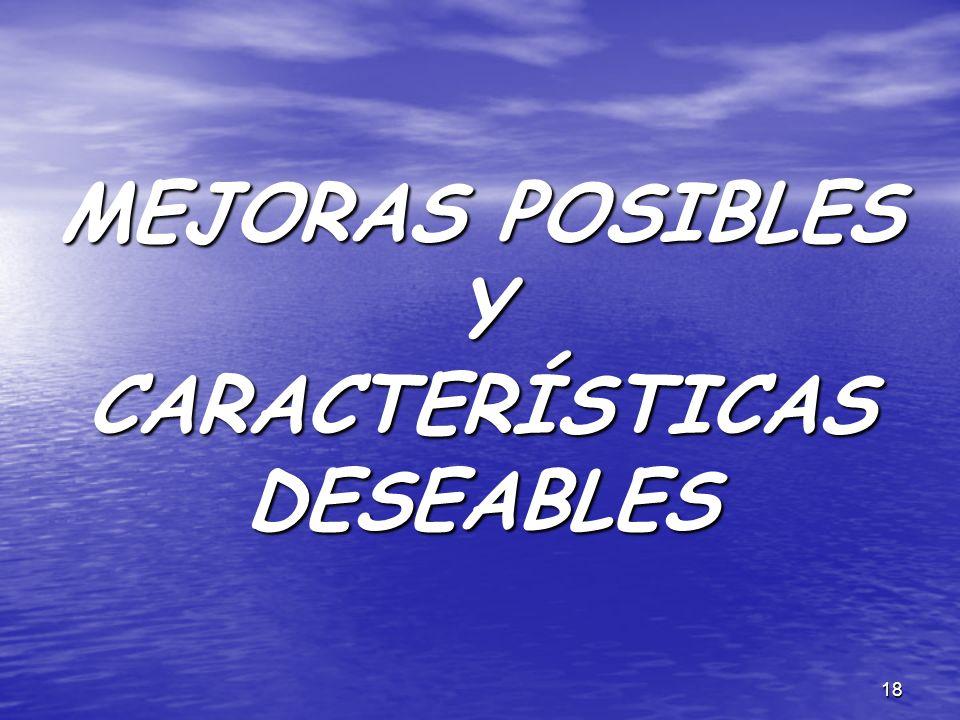 MEJORAS POSIBLES Y CARACTERÍSTICAS DESEABLES