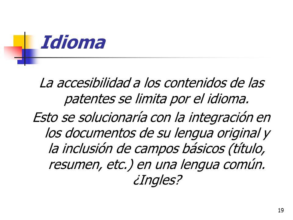 Idioma La accesibilidad a los contenidos de las patentes se limita por el idioma.