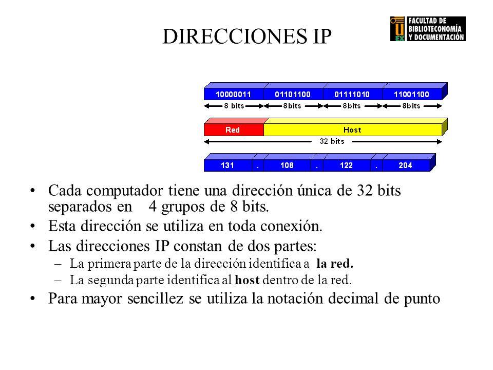 DIRECCIONES IP Cada computador tiene una dirección única de 32 bits separados en 4 grupos de 8 bits.