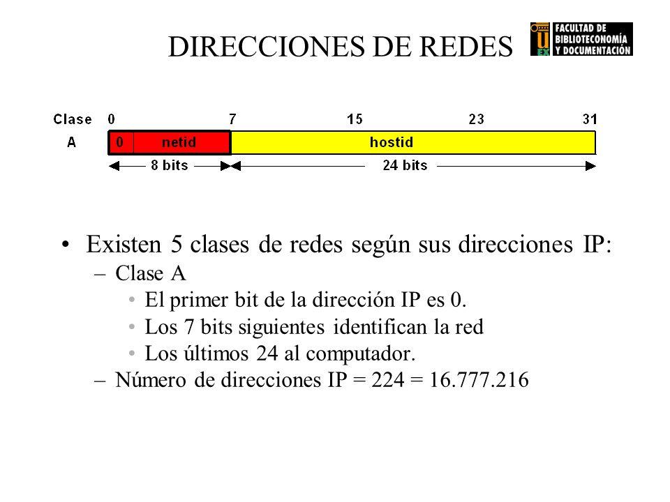 DIRECCIONES DE REDES Existen 5 clases de redes según sus direcciones IP: Clase A. El primer bit de la dirección IP es 0.