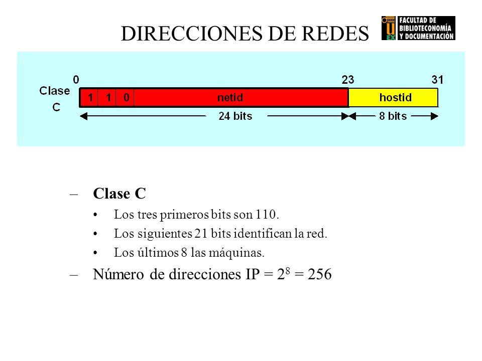 DIRECCIONES DE REDES Clase C Número de direcciones IP = 28 = 256