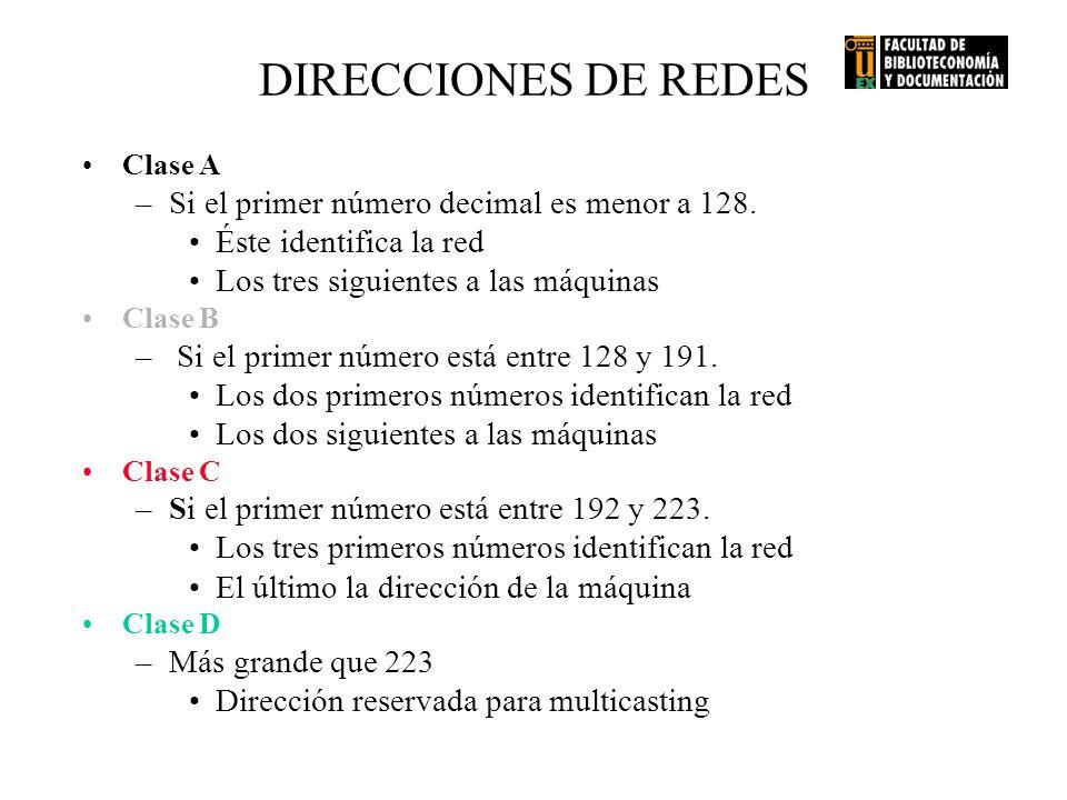 DIRECCIONES DE REDES Si el primer número decimal es menor a 128.