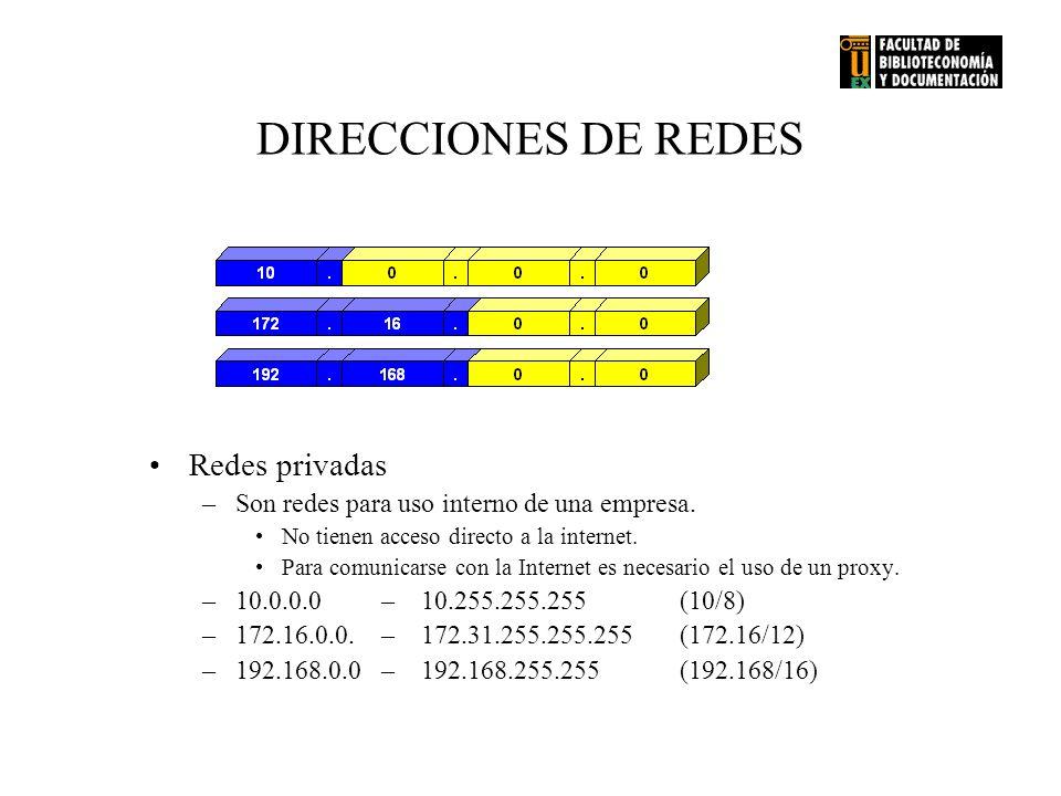 DIRECCIONES DE REDES Redes privadas