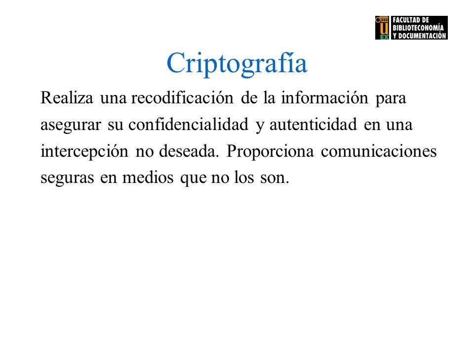 Criptografía Realiza una recodificación de la información para