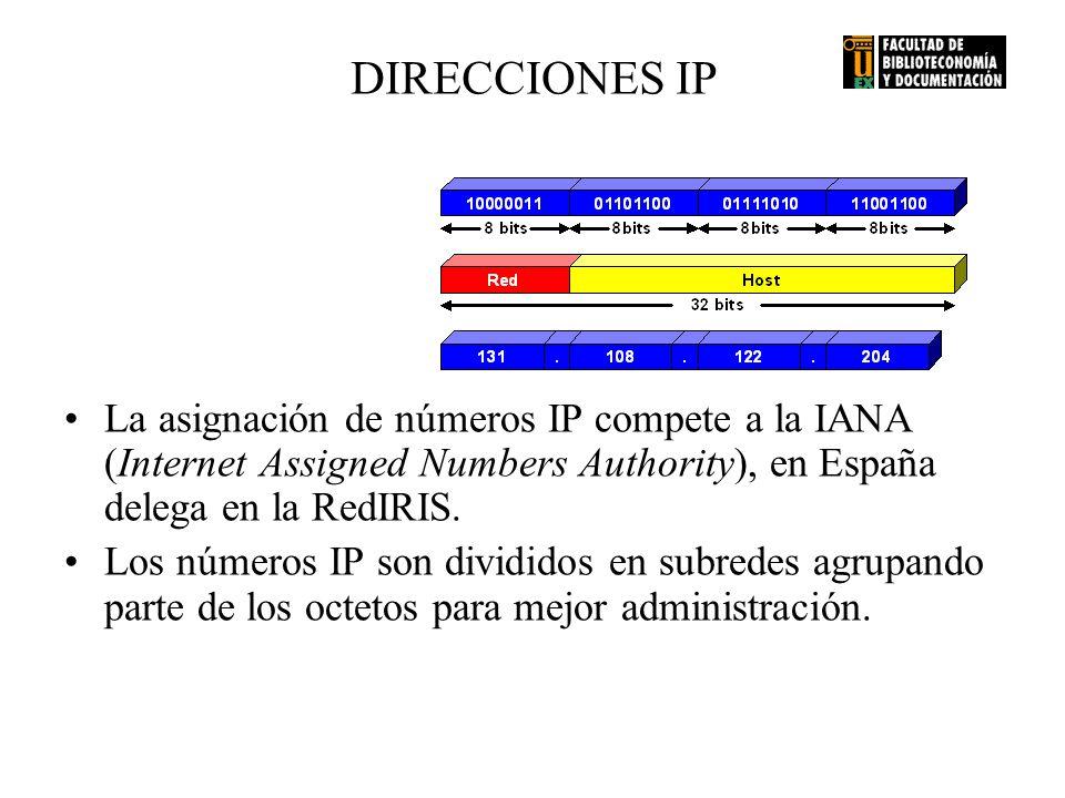 DIRECCIONES IP La asignación de números IP compete a la IANA (Internet Assigned Numbers Authority), en España delega en la RedIRIS.
