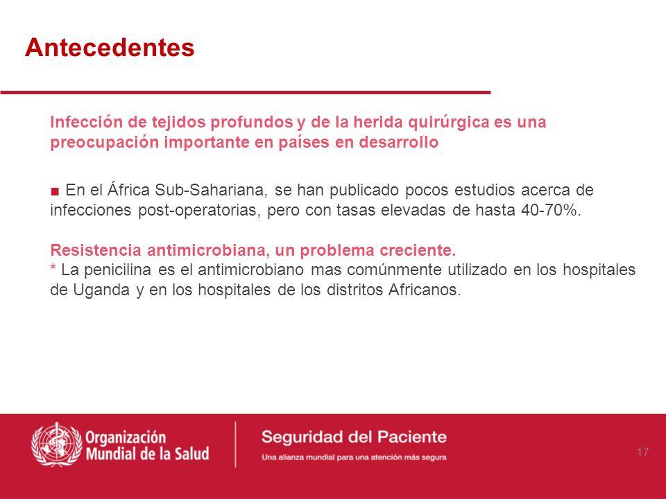 AntecedentesInfección de tejidos profundos y de la herida quirúrgica es una preocupación importante en países en desarrollo.