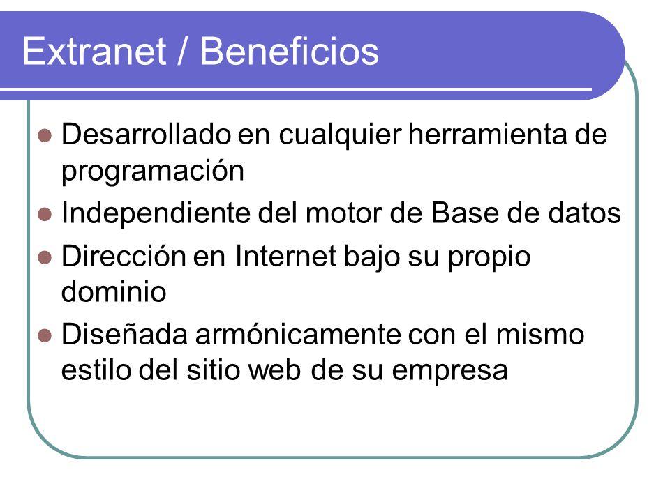 Extranet / Beneficios Desarrollado en cualquier herramienta de programación. Independiente del motor de Base de datos.