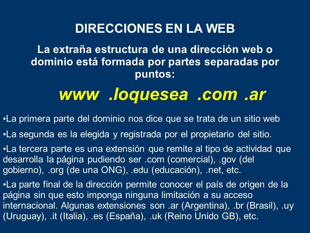 www .loquesea .com .ar DIRECCIONES EN LA WEB