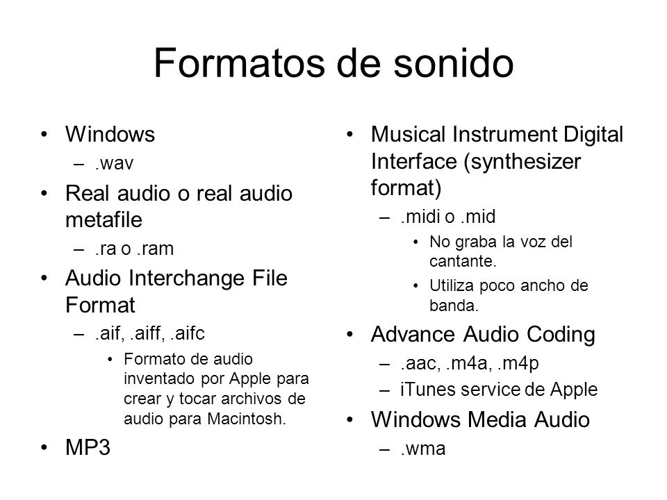 Formatos de sonido Windows Real audio o real audio metafile