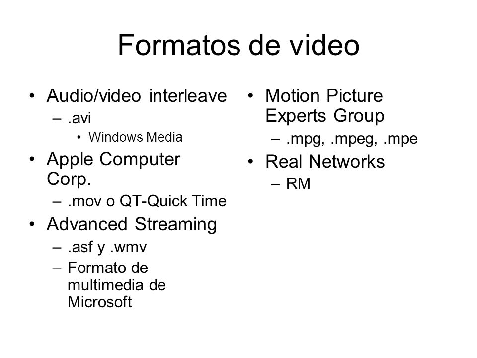 Formatos de video Audio/video interleave Apple Computer Corp.