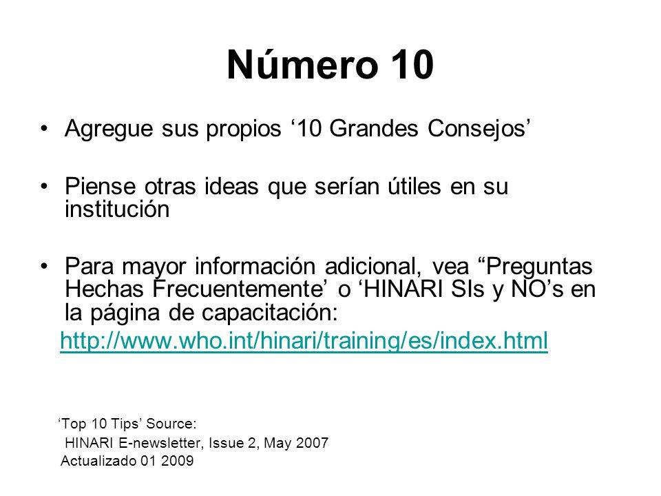 Número 10 Agregue sus propios '10 Grandes Consejos'