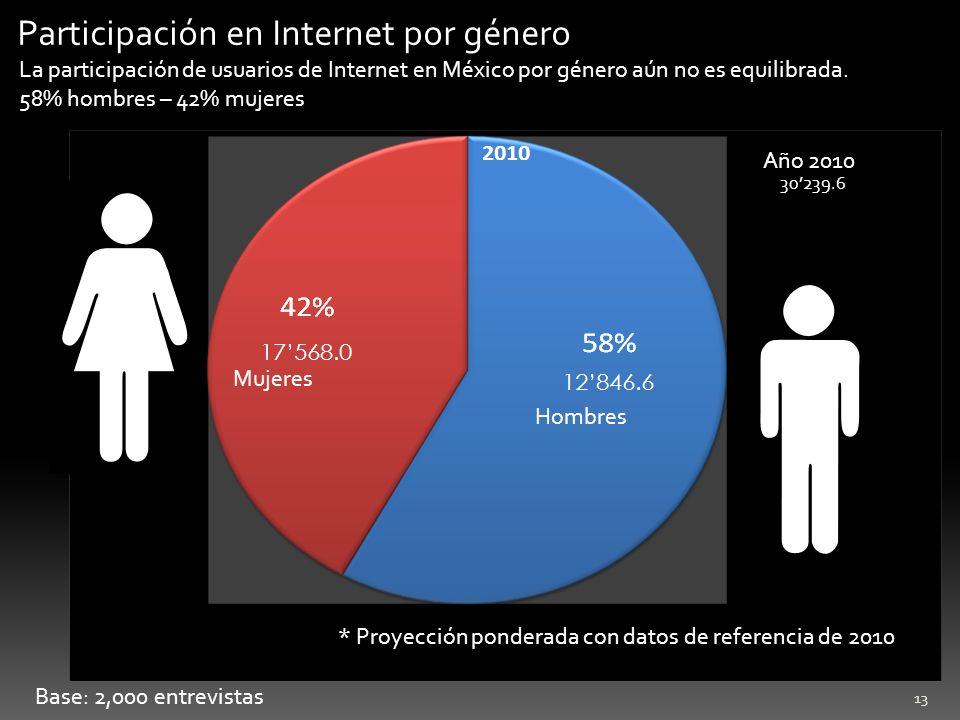 Participación en Internet por género