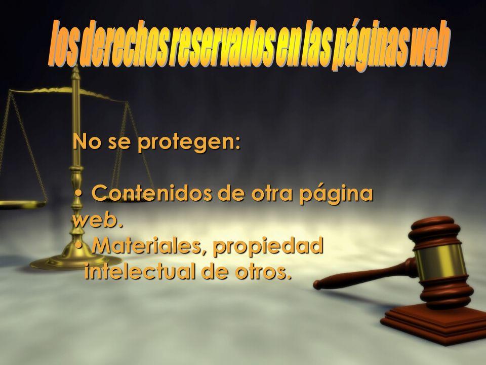 los derechos reservados en las páginas web