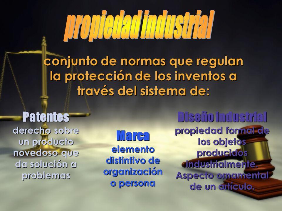 propiedad industrial conjunto de normas que regulan la protección de los inventos a través del sistema de: