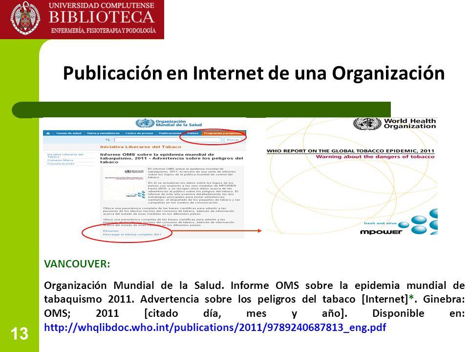 Publicación en Internet de una Organización