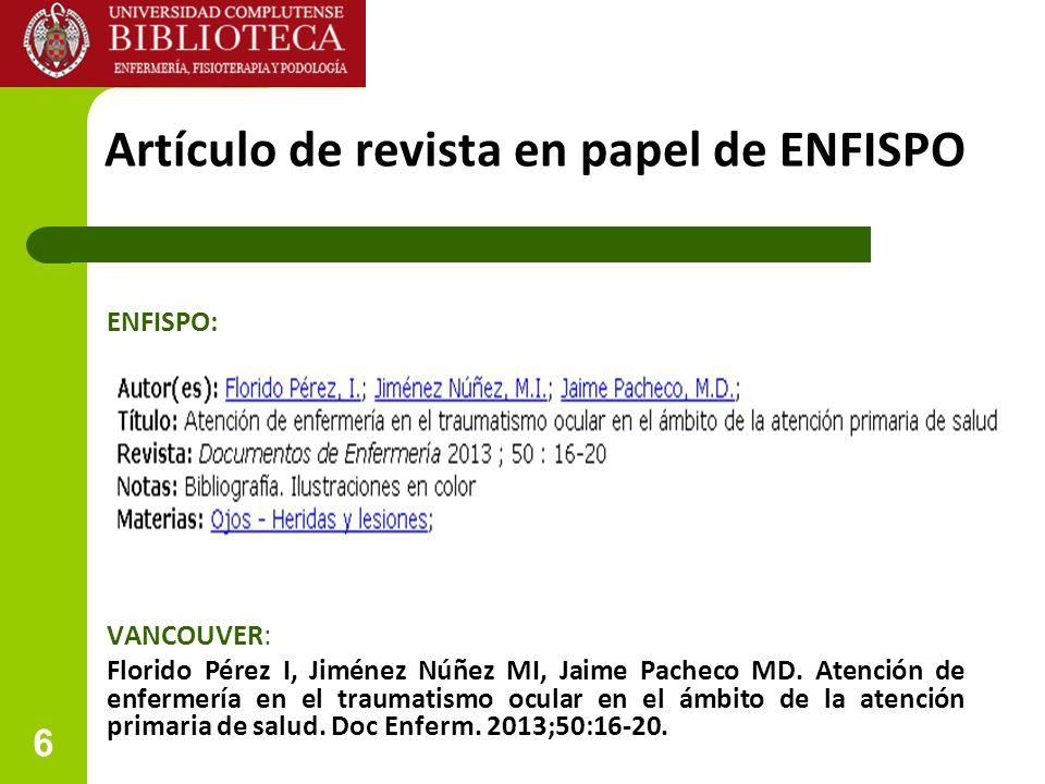 Artículo de revista en papel de ENFISPO