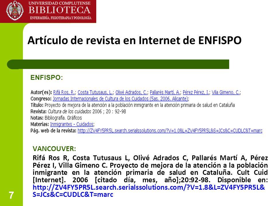 Artículo de revista en Internet de ENFISPO